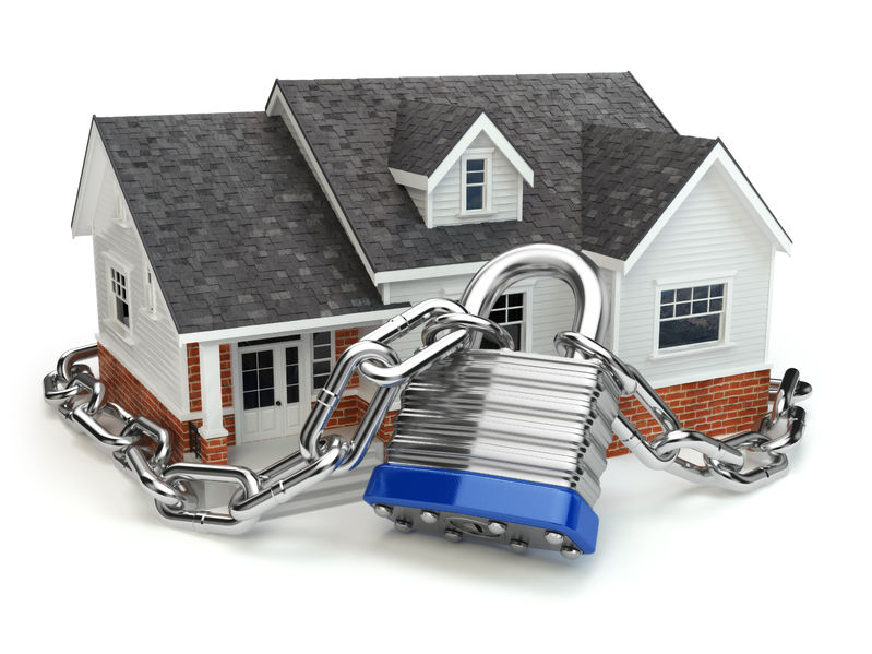 45111442 - home security concept. house with lock and chain. 3d