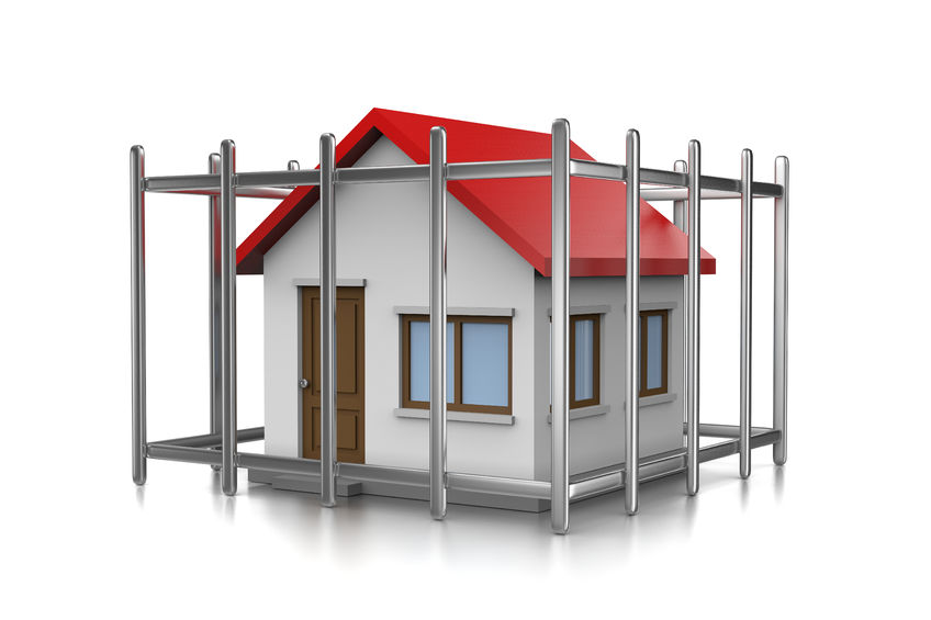 59993108 - house in a cage 3d illustration on white background